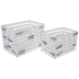 Distressed White Crate Wood Containers Set
