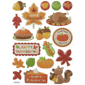 Happy Thanksgiving Puffy Stickers