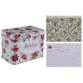 Holly, Rose & Poinsettia Metal Recipe Box