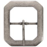 Antique Nickel Clipped Corner Metal Belt Buckle