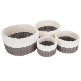 Round Gray & White Woven Paper Basket Set