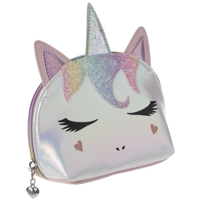Gray Unicorns Rainbows Zipper Coin Pouch /& Pocket Tissue Gift Set