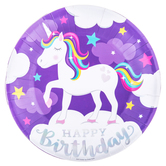 Unicorn Birthday Paper Plates - Large