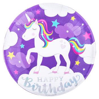 Unicorn Birthday Paper Plates - Large