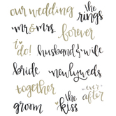 Black & Gold Wedding Phrases Stickers