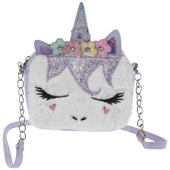 Purple Faux Fur Unicorn Bag