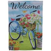 Welcome Bike & Flowers Garden Flag