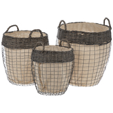 Gray Wire Lined Basket Set