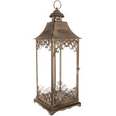 Gray Ornate Metal Lantern