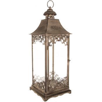 Gray Ornate Metal Lantern