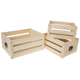 Pallet Wood Crate With Handles Set