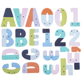 Smiling Block Alphabet Stickers