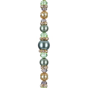 Seafoam Glass Pearl, Crystal, & Rhinestone Bead Strand