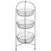 Brown Three-Tiered Wire Basket