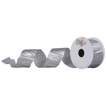 "Silver Crinkled Single-Face Satin Ribbon - 1 1/2"""
