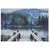 Watercolor Lake & Mountains Canvas Wall Decor