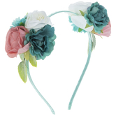 White, Pink & Teal Flower Headband