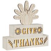 Give Thanks Turkey Light Up Wood Decor