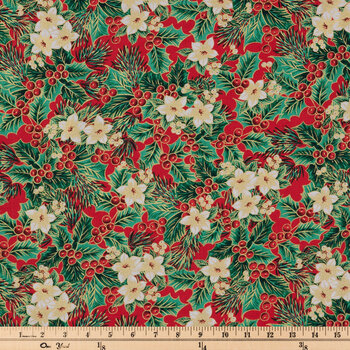 Red & White Floral Holly Cotton Fabric