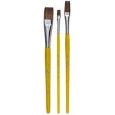 Camel Flat Paint Brushes - 3 Piece Set