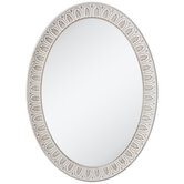 Whitewash Carved Oval Wood Wall Mirror