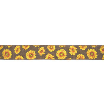 """Brown Sunflowers Wired Edge Ribbon - 2 1/2"""""""
