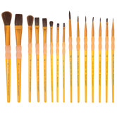 Camel Hair Paint Brushes - 15 Piece Set