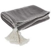 Gray & White Tassel Throw Blanket