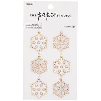 White Glitter Snowflake Charm Embellishments