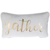 Gather White & Gold Pillow
