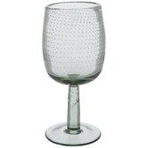 Green Bubble Dot Stemmed Glass