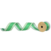 """Green Solid & Striped Wired Edge Satin Ribbon - 2 1/2"""""""