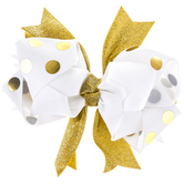 White & Gold Polka Dot Layered Bow Hair Clip