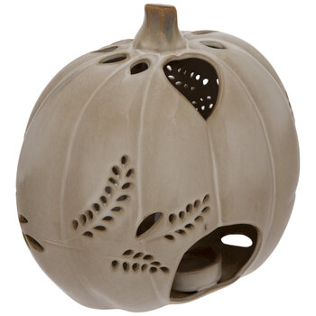 Cream Pumpkin Candle Holder