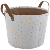 White & Gold Dot Round Canvas Basket