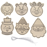 Christmas Faces Ornaments Wood Craft Kit