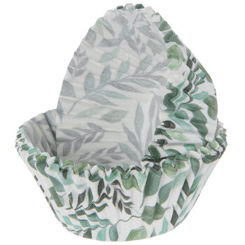 Green Watercolor Leaves Baking Cups