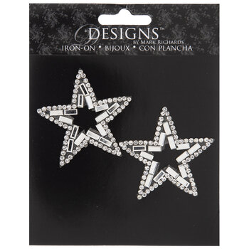 Silver Star Rhinestone Iron-On Appliques