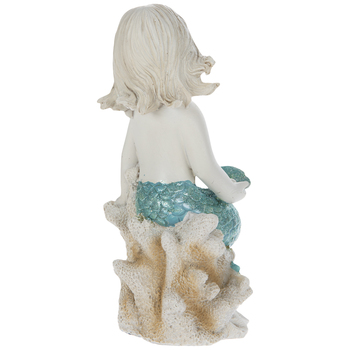 White & Turquoise Mermaid On Coral