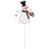 Snowman Wearing Top Hat Metal Garden Stake
