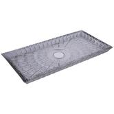 Gray Ornate Rectangle Glass Tray