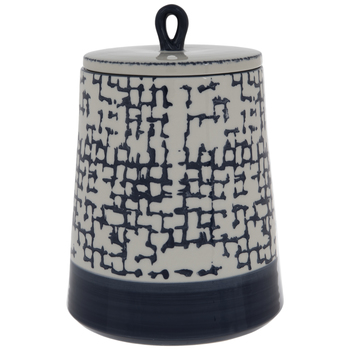 White & Blue Distressed Check Canister