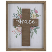 Floral Grace Cross Wood Wall Decor