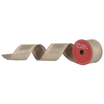 "Natural & Gold Glitter Wired Edge Ribbon - 2 1/2"""