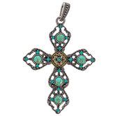 Blue Rhinestone & Turquoise Cross Pendant