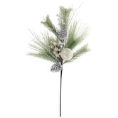 White Glitter Berry Frosted Pine Branch