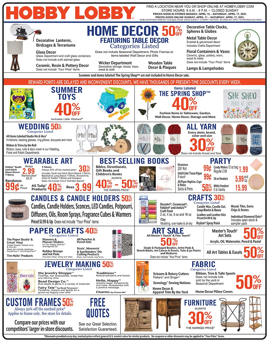 Hobby Lobby Weekly Ad - Prices Good Through April 17th 2021