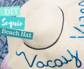 DIY Sequin Beach Hat Made with Fabri-Tac
