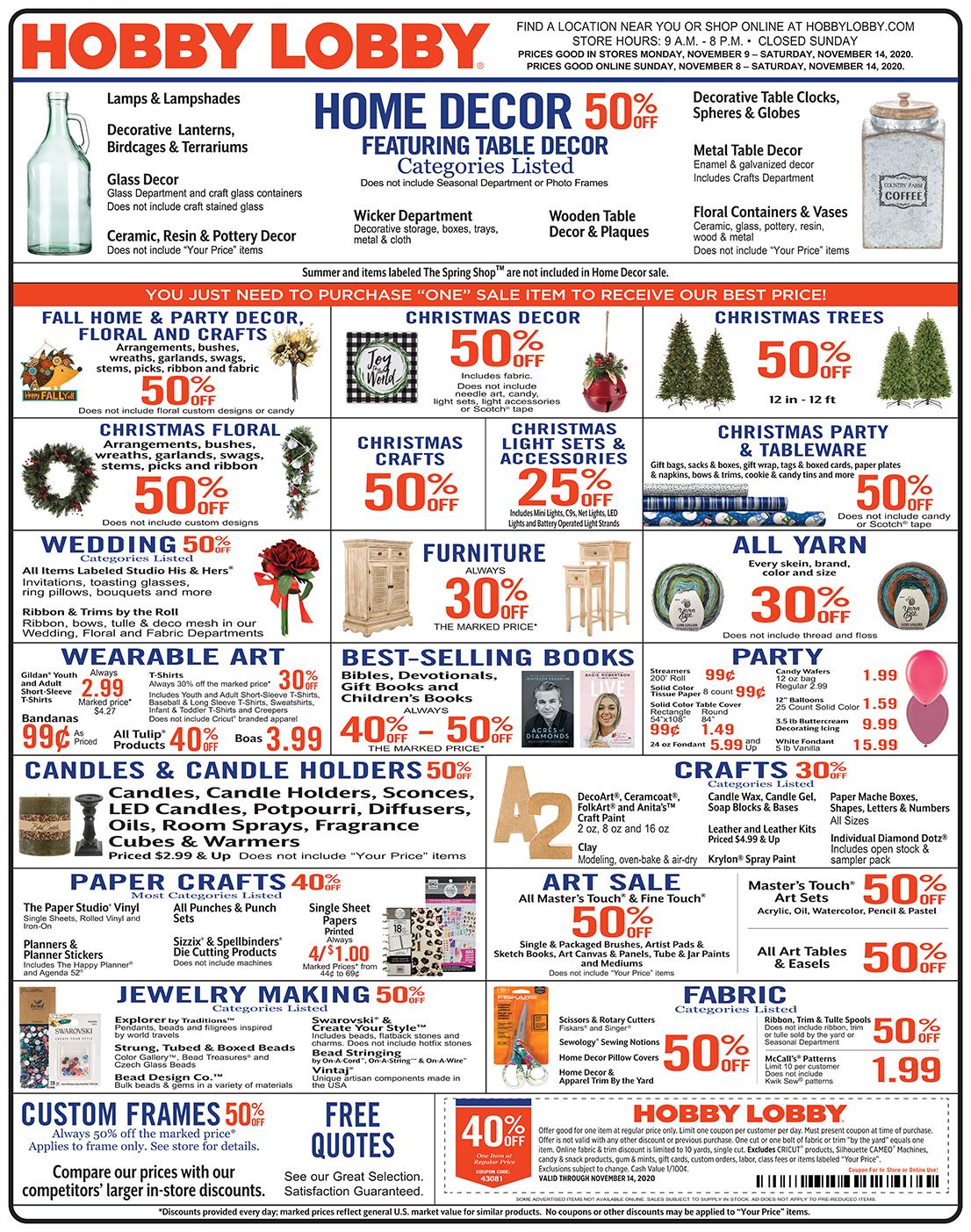 Hobby Lobby Weekly Ad - Prices Good Through November 14th 2020