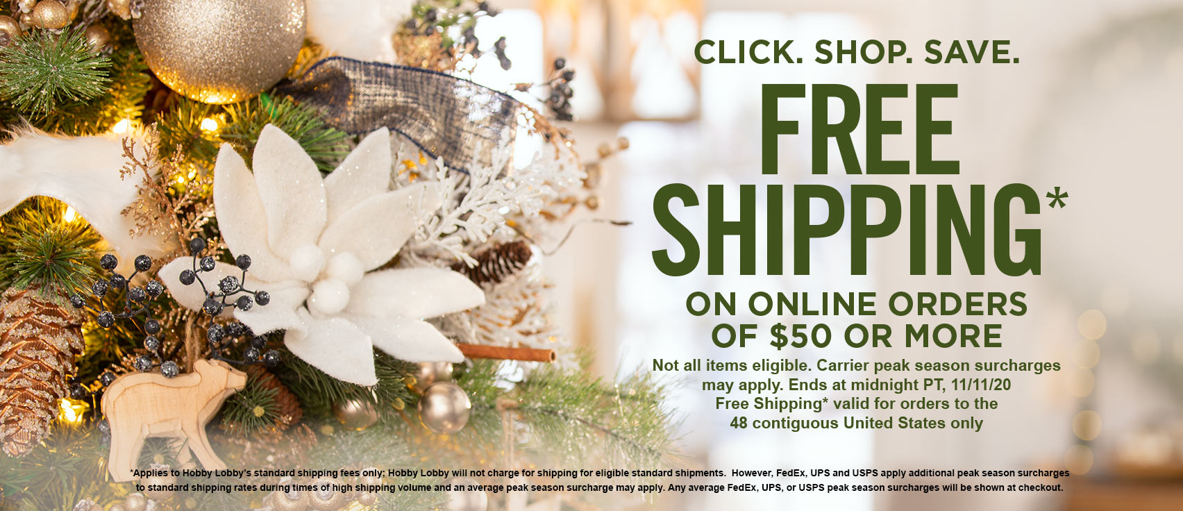 Free Shipping on Orders of  or More Online Orders at Hobby Lobby!